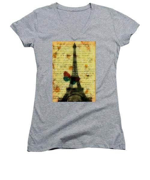 Eiffel Tower Memory Encaustic Women's V-Neck T-Shirt (Junior Cut) by Bellesouth Studio