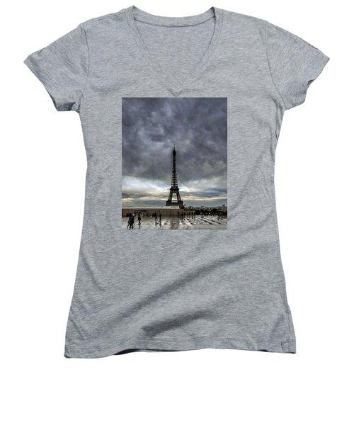 Women's V-Neck T-Shirt (Junior Cut) featuring the photograph Eiffel Tower Paris by Sally Ross