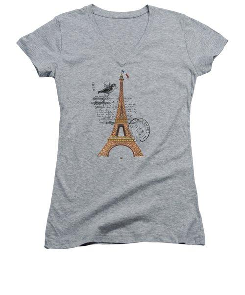 Eiffel Tower T Shirt Design Women's V-Neck