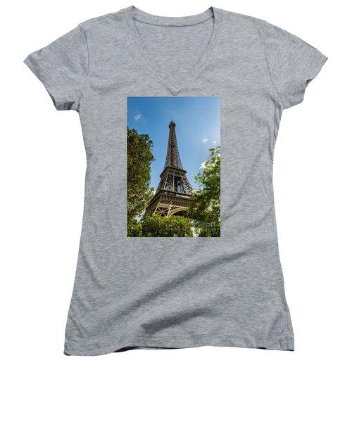 Eiffel Tower Through Trees Women's V-Neck