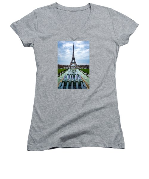 Eiffeltower From Trocadero Garden Women's V-Neck (Athletic Fit)