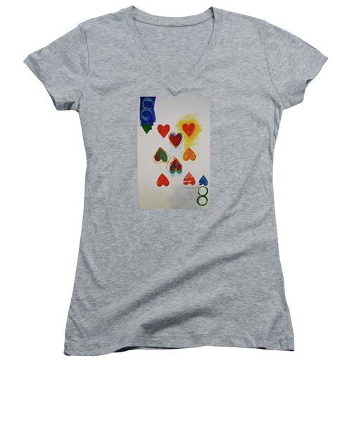 Eight Of Hearts 9-52  2nd Series  Women's V-Neck T-Shirt (Junior Cut) by Cliff Spohn