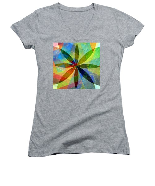 Women's V-Neck T-Shirt featuring the painting Eight Petals by Michelle Calkins