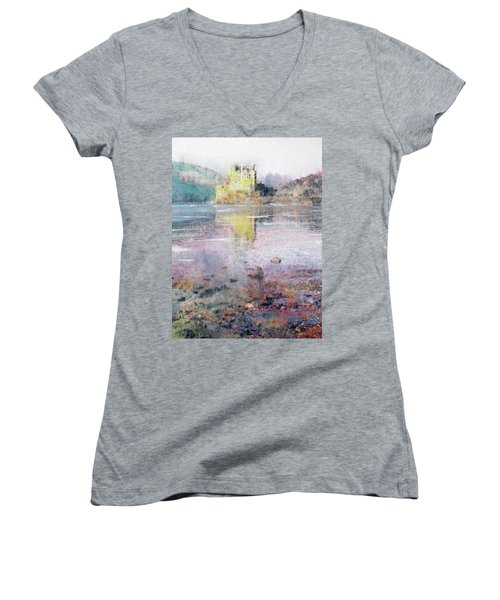 Women's V-Neck T-Shirt (Junior Cut) featuring the painting Eilean Donan Castle  by Richard James Digance