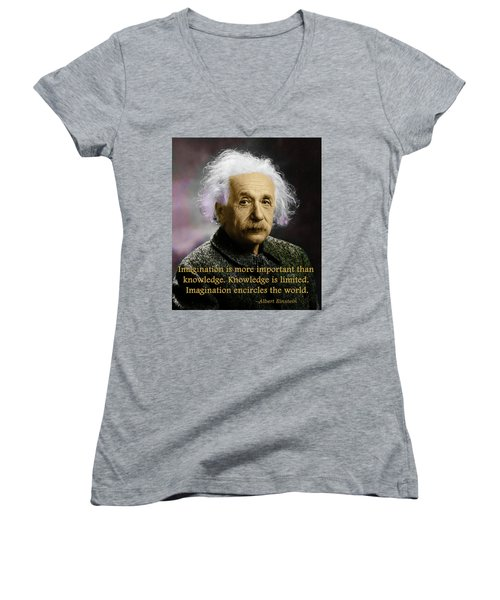 Einstein On Imagination Women's V-Neck T-Shirt