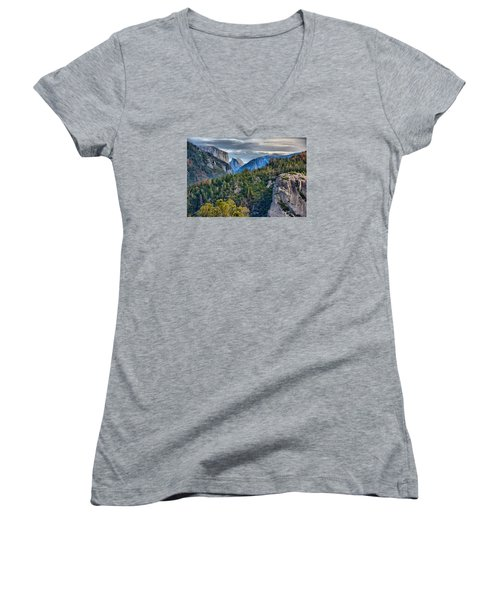 El Capitan And Half Dome Women's V-Neck T-Shirt (Junior Cut) by Josephine Buschman