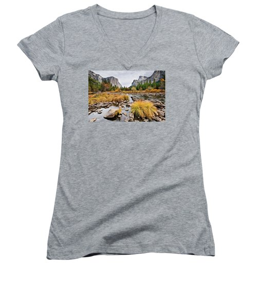 El Capitan And The Merced River In The Fall Women's V-Neck