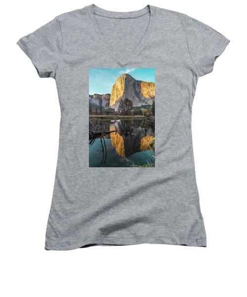 El Capitan Sunset Women's V-Neck T-Shirt (Junior Cut) by Alpha Wanderlust