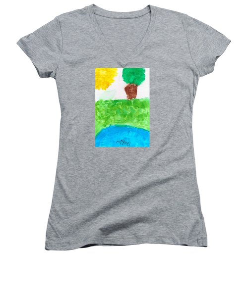 Women's V-Neck T-Shirt (Junior Cut) featuring the painting El Paisaje by Artists With Autism Inc