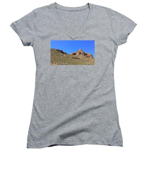 Women's V-Neck T-Shirt (Junior Cut) featuring the photograph El Paso's  Pali - No. 2016 by Joe Finney