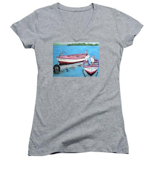 El Pescador De Guanica Women's V-Neck T-Shirt (Junior Cut) by Luis F Rodriguez