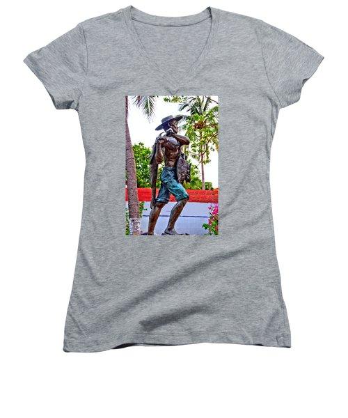 Women's V-Neck T-Shirt (Junior Cut) featuring the photograph El Pescador by Jim Walls PhotoArtist