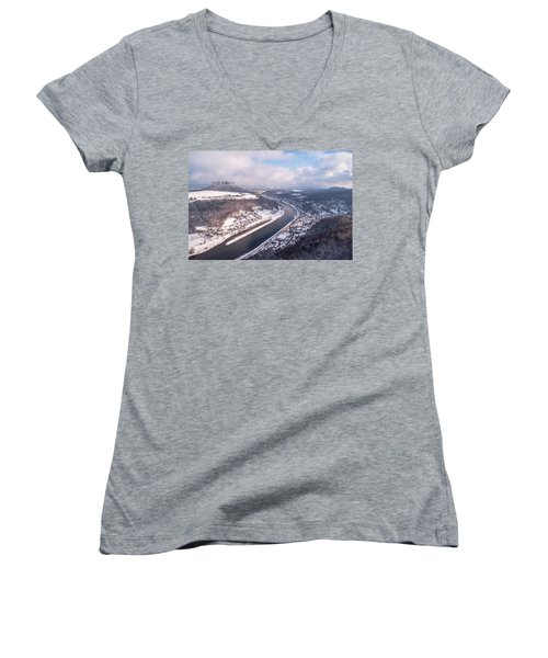 Women's V-Neck T-Shirt (Junior Cut) featuring the photograph Elbe Valley With Mountain Pfaffenstein by Jenny Rainbow