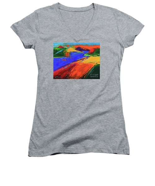 Electric Color Women's V-Neck T-Shirt (Junior Cut) by Jeanette French