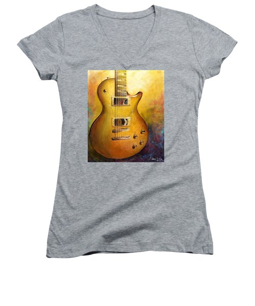 Women's V-Neck featuring the painting Electric Gold by Andrew King
