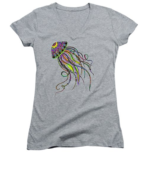 Women's V-Neck T-Shirt (Junior Cut) featuring the drawing Electric Jellyfish by Tammy Wetzel