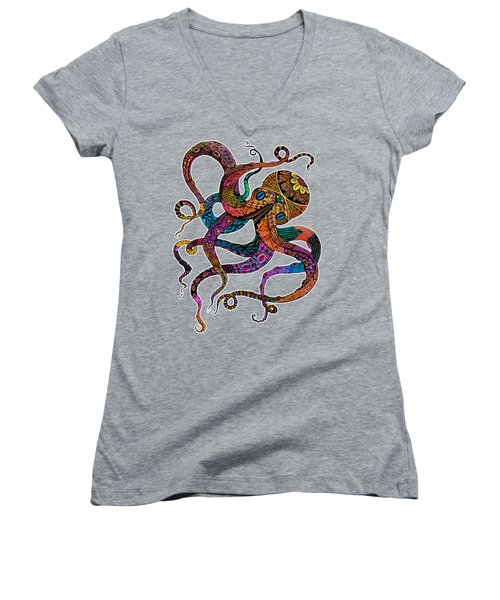 Women's V-Neck T-Shirt (Junior Cut) featuring the drawing Electric Octopus by Tammy Wetzel