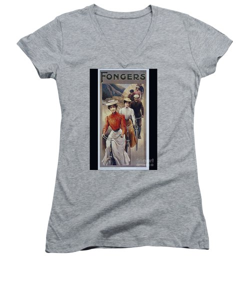 Elegant Fongers Vintage Stylish Cycle Poster Women's V-Neck (Athletic Fit)