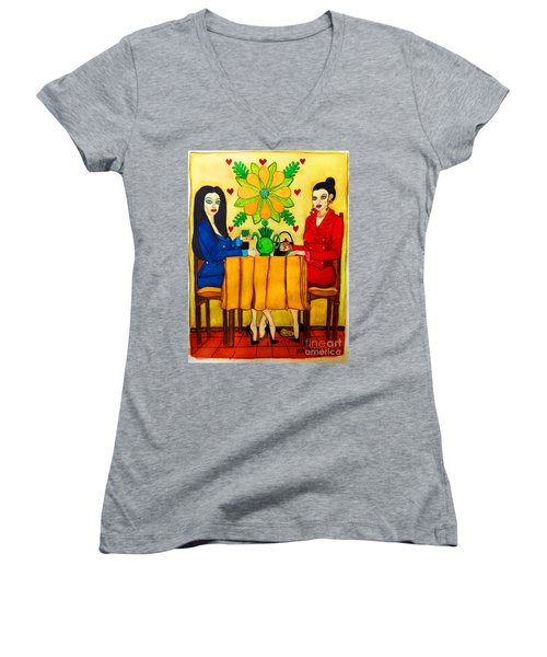 Women's V-Neck T-Shirt (Junior Cut) featuring the painting Elegant Ladies In A Coffee-shop by Don Pedro De Gracia