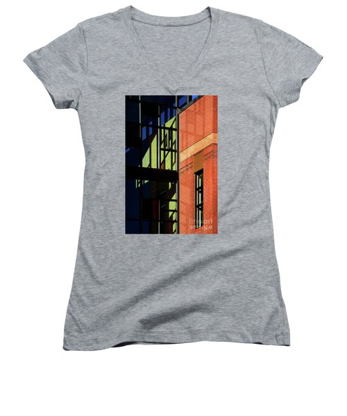 Women's V-Neck T-Shirt (Junior Cut) featuring the photograph Element Of Reflection by Vicki Pelham
