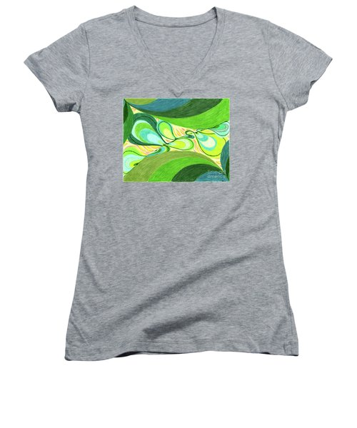 Women's V-Neck T-Shirt (Junior Cut) featuring the drawing Elements by Kim Sy Ok