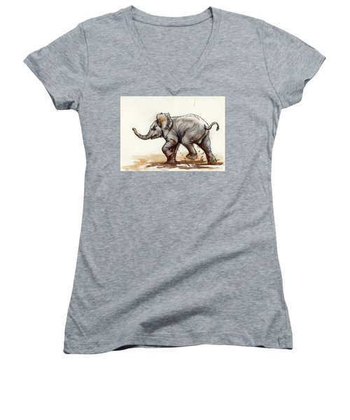 Women's V-Neck T-Shirt (Junior Cut) featuring the painting Elephant Baby At Play by Margaret Stockdale