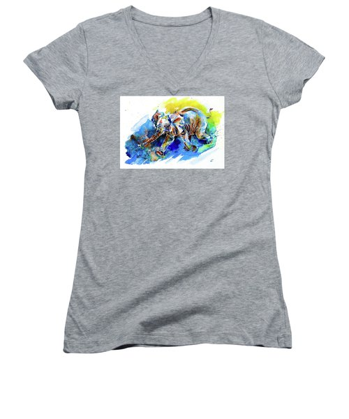 Women's V-Neck T-Shirt featuring the painting Elephant Calf Playing With Butterfly by Zaira Dzhaubaeva