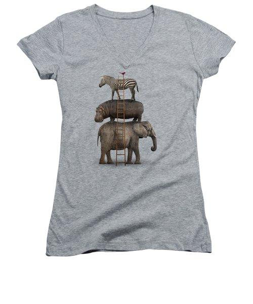 Elephant, Hippo, Zebra Animal Stack With A Cardinal Women's V-Neck T-Shirt (Junior Cut) by Greg Noblin