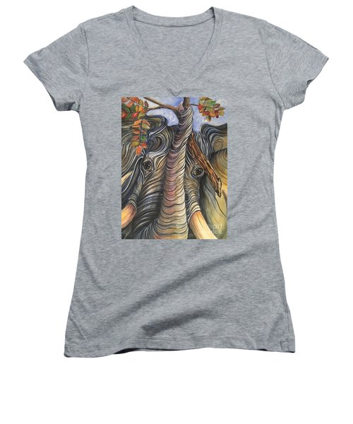 Elephant Holding A Tree Branch Women's V-Neck (Athletic Fit)