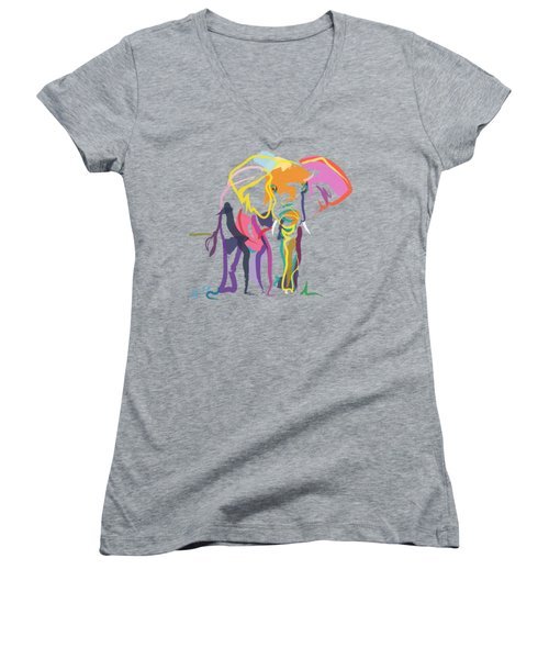 Elephant In Color Ecru Women's V-Neck