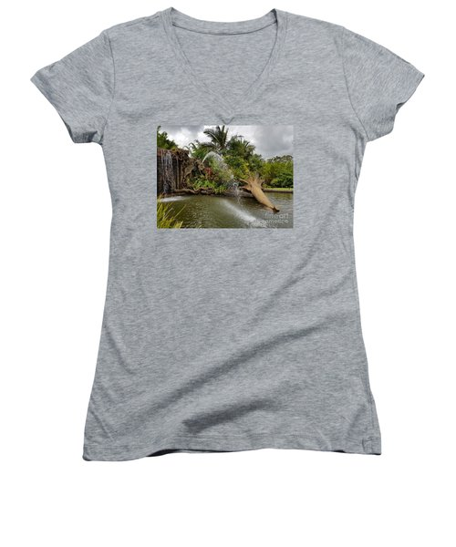 Elephant Waterfall Women's V-Neck
