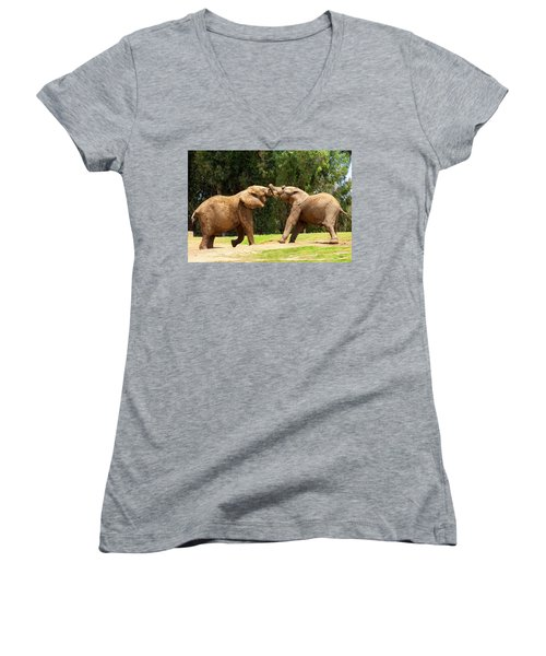Elephants At Play 2 Women's V-Neck