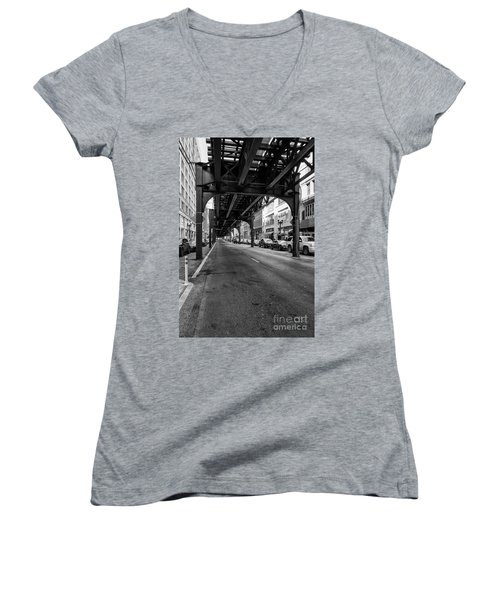 Elevated Train Track The Loop In Chicago, Il Women's V-Neck (Athletic Fit)