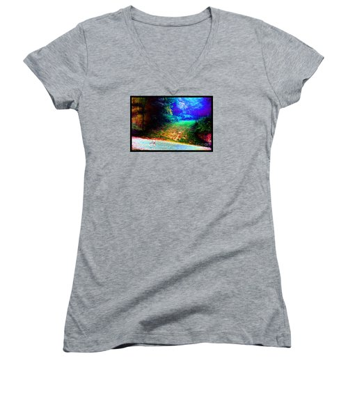 Women's V-Neck T-Shirt (Junior Cut) featuring the photograph Eleven Dimensions East by Susanne Still