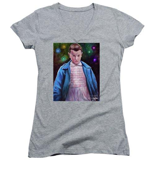 Eleven Women's V-Neck T-Shirt (Junior Cut) by Tom Carlton