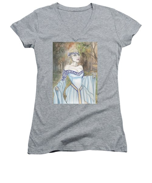Elf Lotr Women's V-Neck T-Shirt (Junior Cut) by Jimmy Adams