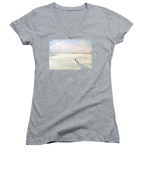 Women's V-Neck T-Shirt (Junior Cut) featuring the painting Elf Stedentocht- Eleven Cities Tour by Annemeet Hasidi- van der Leij