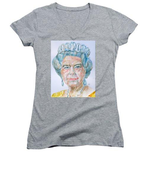 Women's V-Neck T-Shirt (Junior Cut) featuring the painting Elizabeth II - Watercolor Portrait.2 by Fabrizio Cassetta