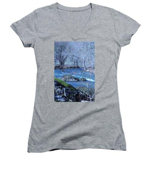 Women's V-Neck T-Shirt (Junior Cut) featuring the photograph Elk Creek Wonderland by Marie Neder