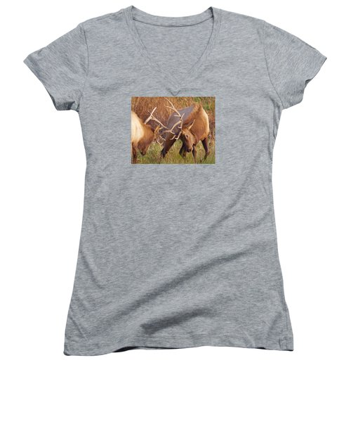 Women's V-Neck T-Shirt (Junior Cut) featuring the photograph Elk Tussle by Todd Kreuter