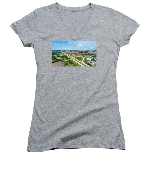 Women's V-Neck T-Shirt featuring the photograph Elkhorn Cloverleaf by Randy Scherkenbach