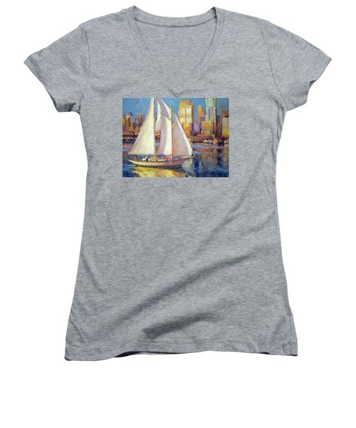 Women's V-Neck featuring the painting Elliot Bay by Steve Henderson