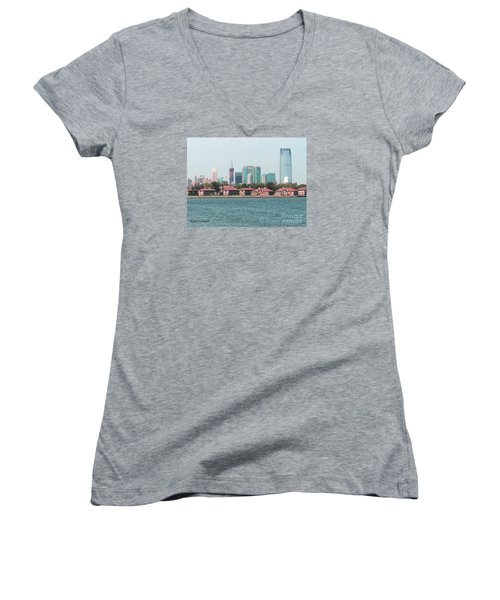 Ellis Island And Nyc Women's V-Neck T-Shirt (Junior Cut) by Denise Tomasura