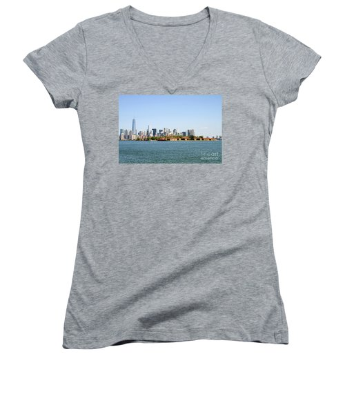 Ellis Island New York City Women's V-Neck (Athletic Fit)