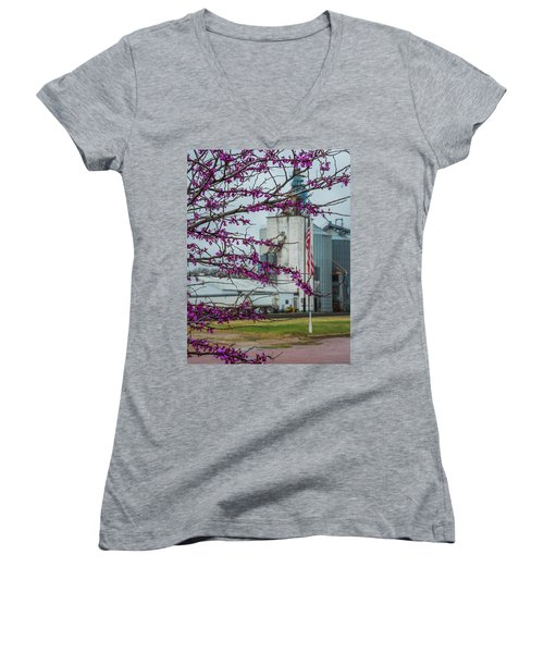 Ellsworth Blooms Women's V-Neck T-Shirt (Junior Cut) by Darren White