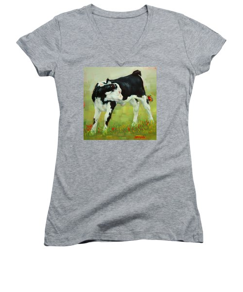 Women's V-Neck T-Shirt (Junior Cut) featuring the painting Elly The Calf And Friend by Margaret Stockdale