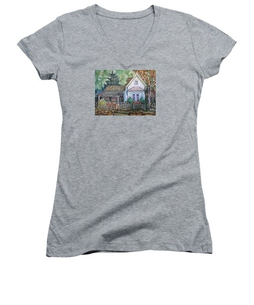 Women's V-Neck T-Shirt (Junior Cut) featuring the painting Elma's Home by Gretchen Allen
