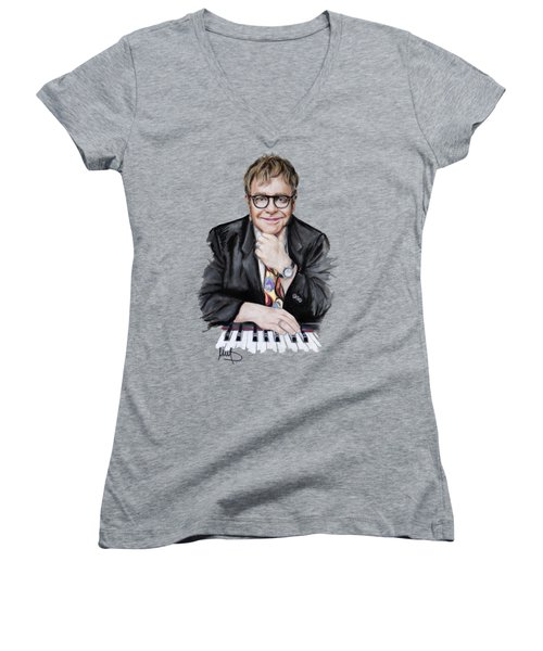 Elton John Women's V-Neck T-Shirt (Junior Cut)