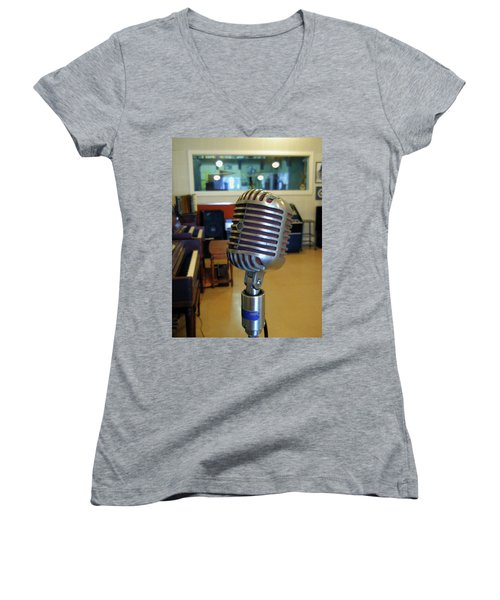 Women's V-Neck T-Shirt featuring the photograph Elvis Presley Microphone by Mark Czerniec