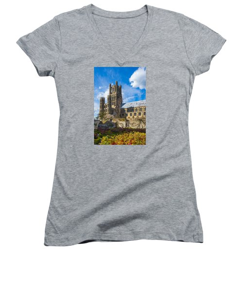 Ely Cathedral And Garden Women's V-Neck T-Shirt